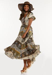 Plus Petite Smocked Aztec Maxi Dress