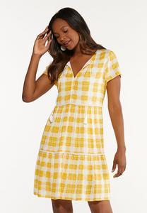 Sunshine Plaid Babydoll Dress