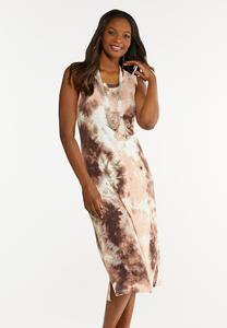 Plus Size Blush Tie Dye Midi Dress