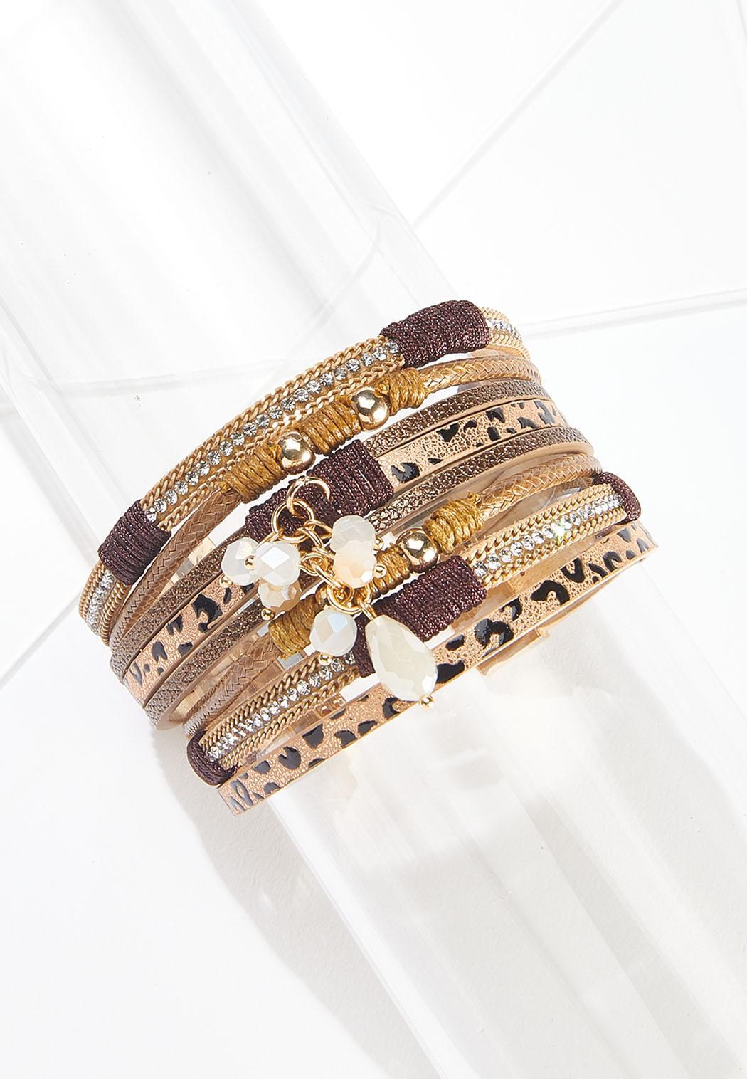 Multi Strap Leopard Magnetic Bracelet