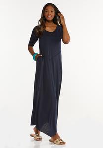 Petite Raw Edge Trim Maxi Dress