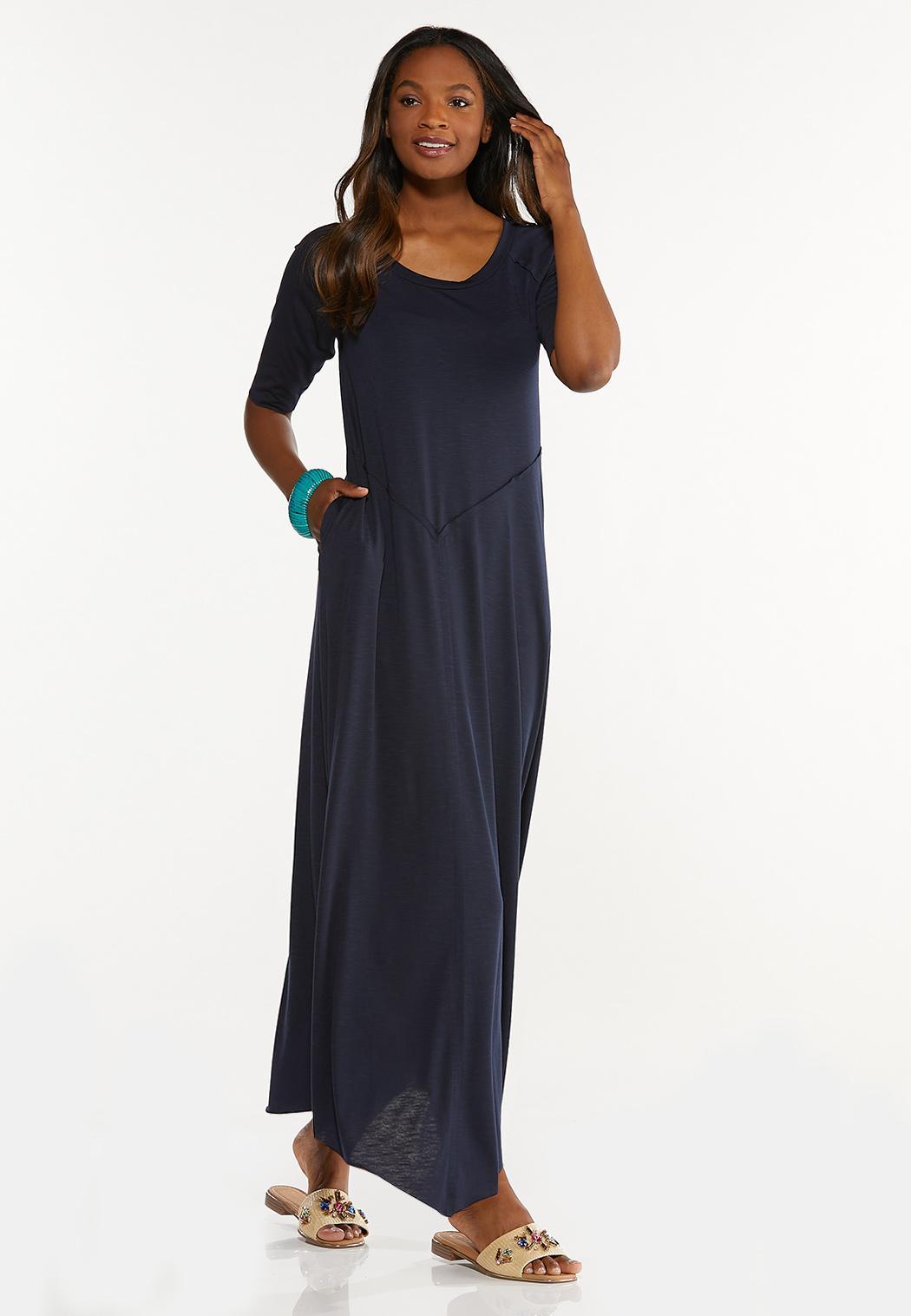 Plus Size Raw Edge Trim Maxi Dress