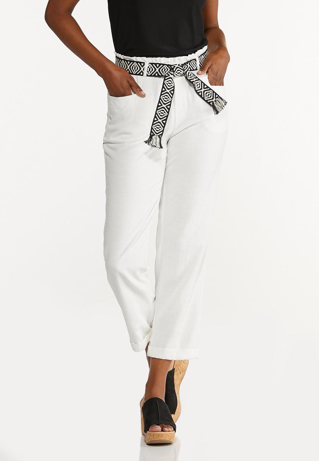 Breezy White Belted Pants