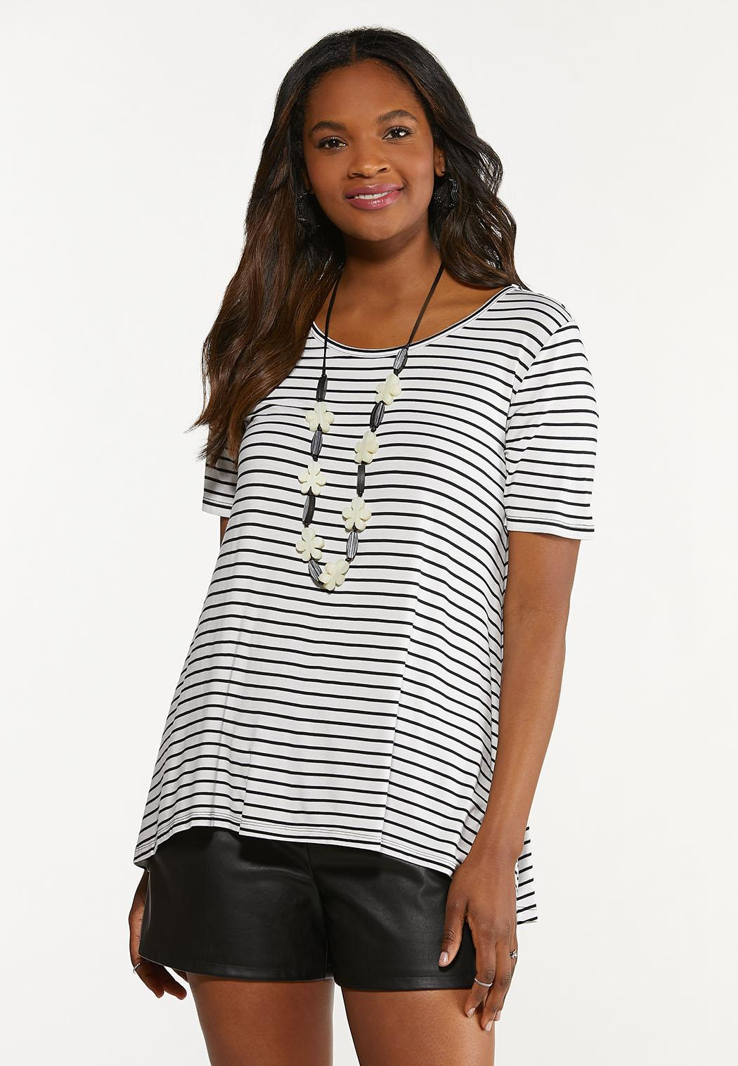 Plus Size Striped Floral Back Tee