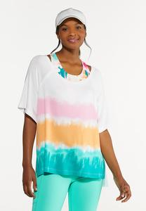 Plus Size Relaxed Tie Dye Top