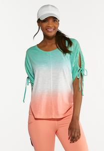 Plus Size Tie Dye Cutout Sleeve Top