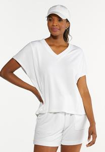 Plus Size French Terry Cutout Back Top
