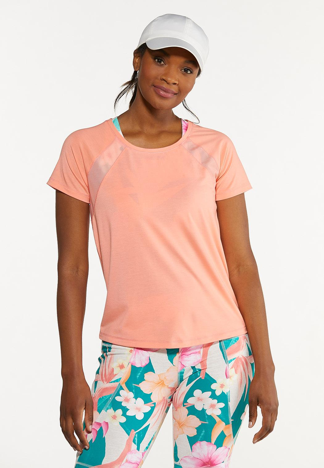 Plus Size Coral Poly Mesh Athletic Top
