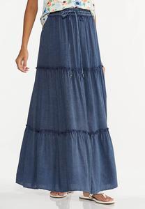 Plus Size Ruffled Vintage Blue Maxi Skirt