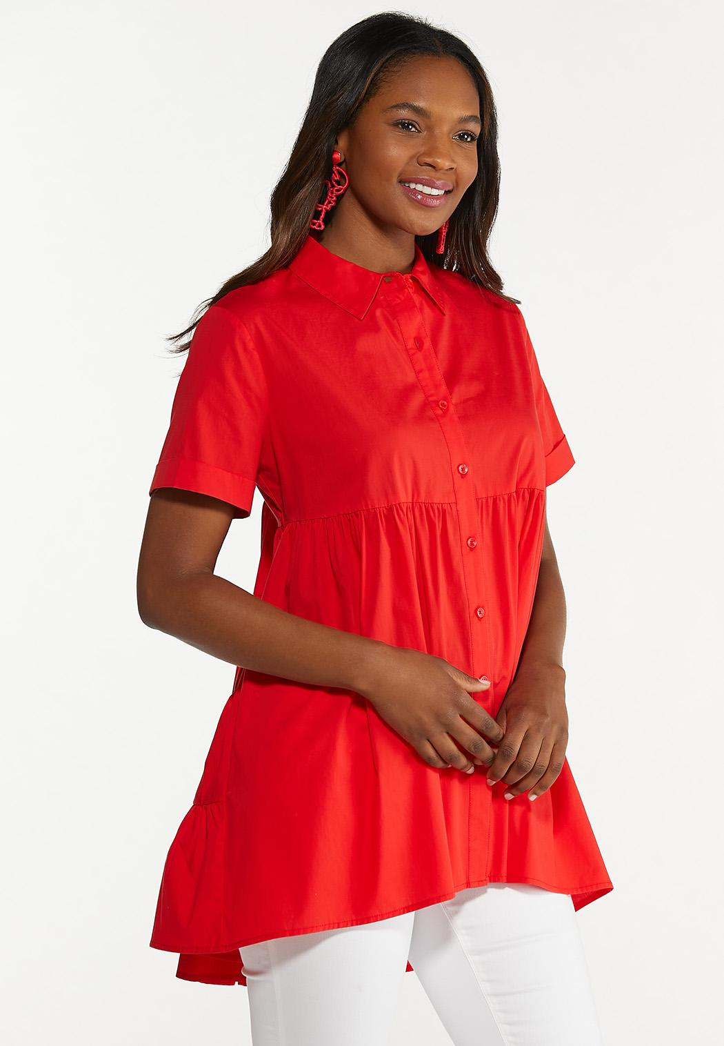Plus Size Tiered Collared Tunic