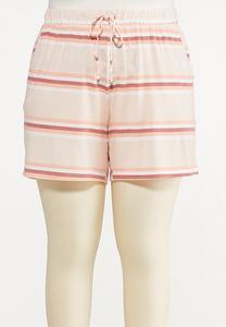 Plus Size Striped Hacci Shorts