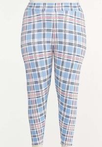 Plus Size Cropped Summer Plaid Leggings