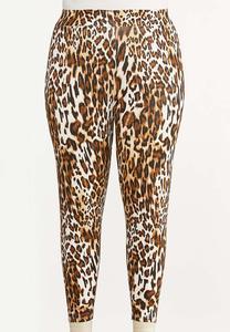 Plus Size Cropped Leopard Leggings