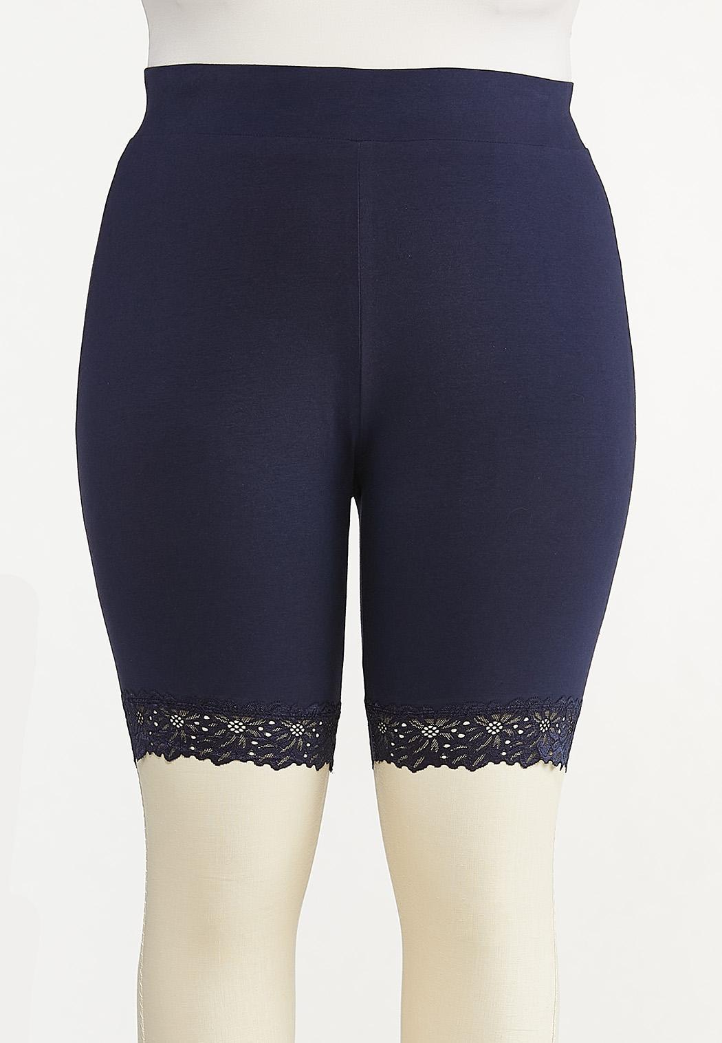 Plus Size Lace Trim Biker Shorts