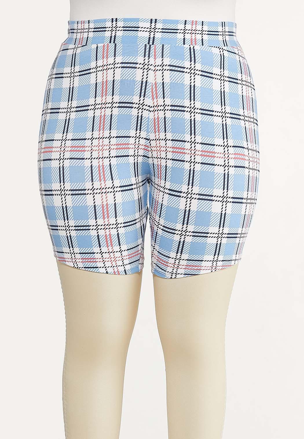Plus Size Summer Plaid Biker Shorts