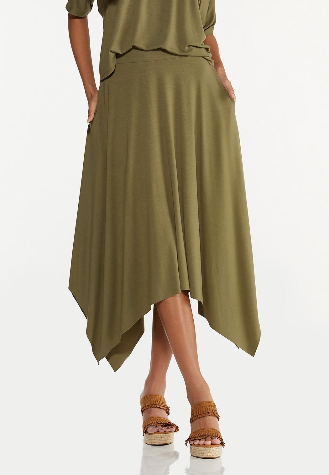 Olive Hanky Hem Skirt