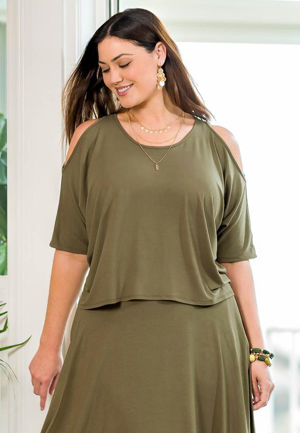 Plus Size Olive Cold Shoulder Top