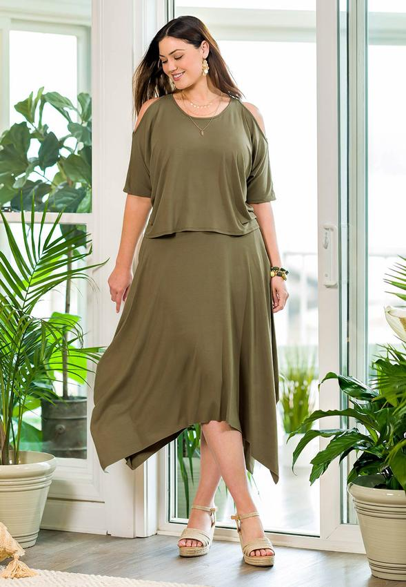 Plus Size Olive Hanky Hem Skirt