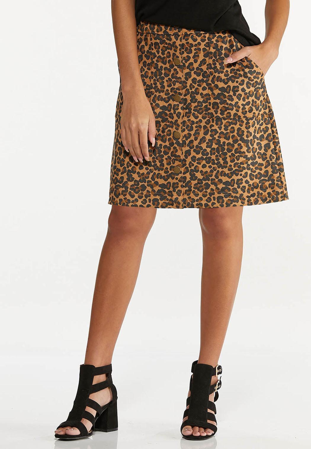 Plus Size Leopard Mini Skirt