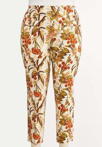 Plus Size Fresh Floral Ankle Pants