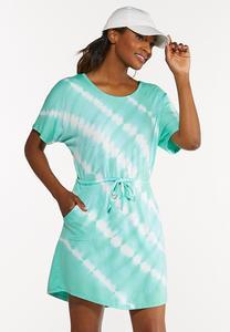 Plus Size Tie Dye Drawstring Dress