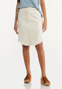 Plus Size Curved Frayed Denim Skirt