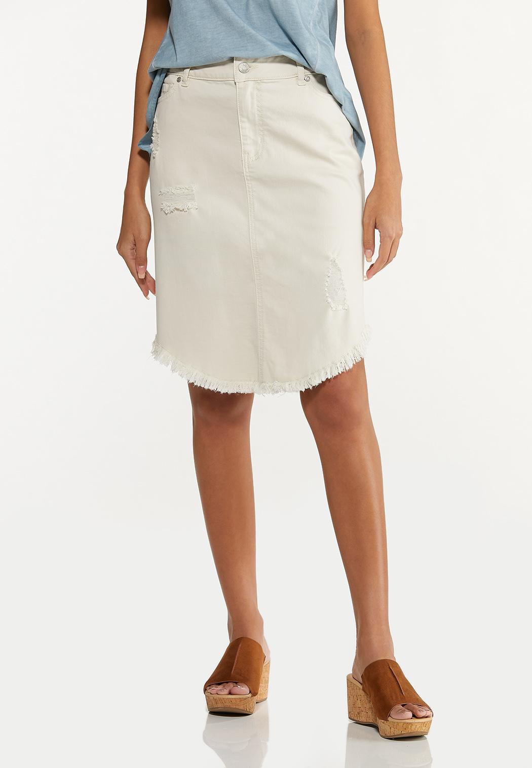 Curved Frayed Denim Skirt