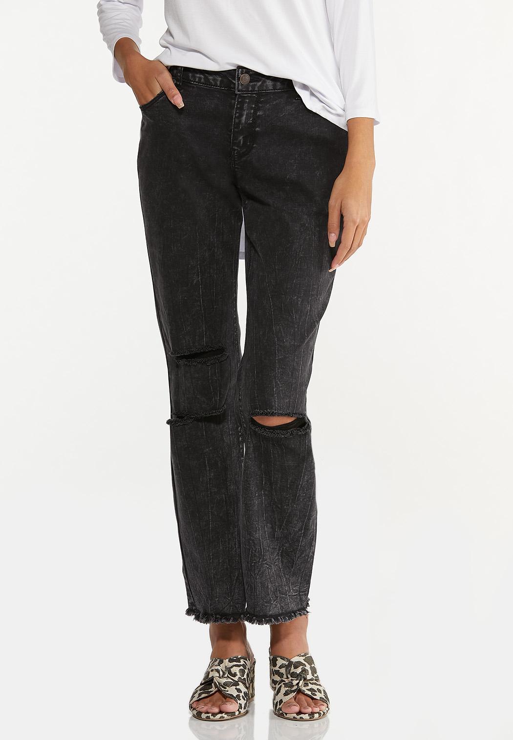 Distressed Black Acid Wash Jeans