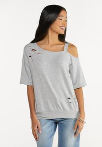 Plus Size Distressed One Shoulder Top