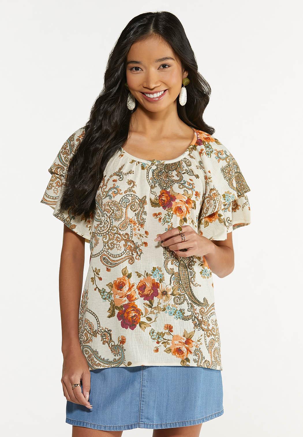 Plus Size Floral Paisley Gauze Top