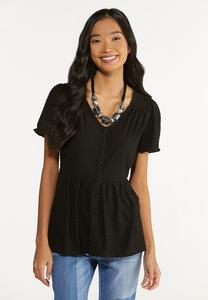 Plus Size Textured Dot Babydoll Top
