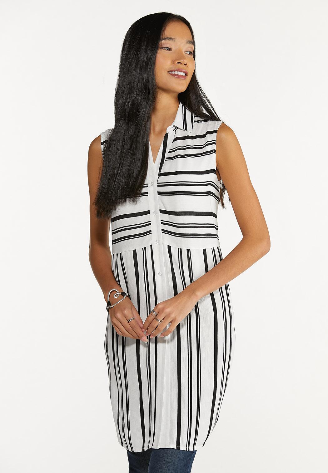 Plus Size Contrast Stripe Tunic
