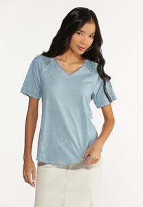 Plus Size Lace Trim High-Low Tee