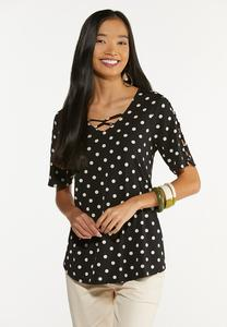 Dotted Criss Cross Top