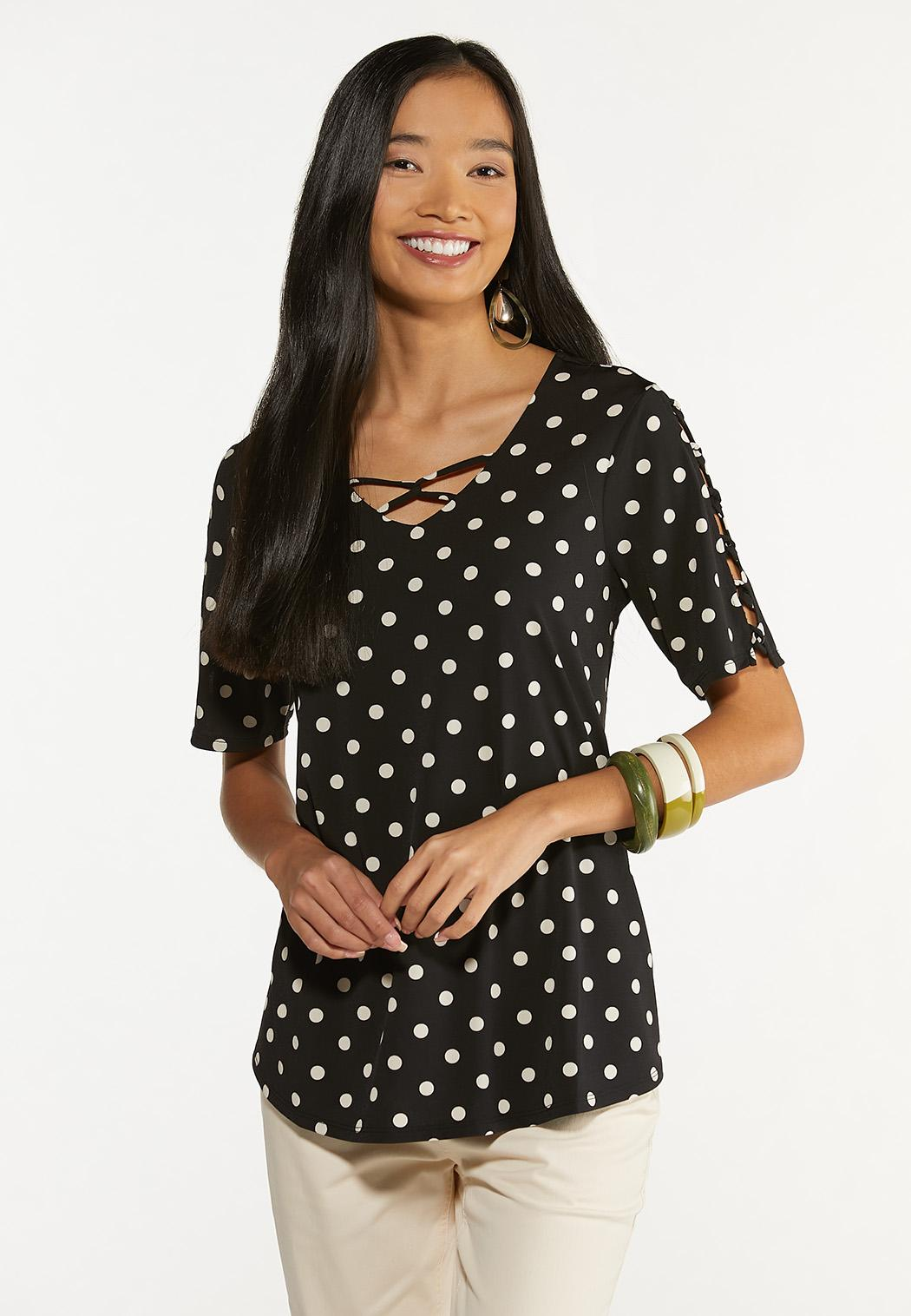 Plus Size Dotted Criss Cross Top