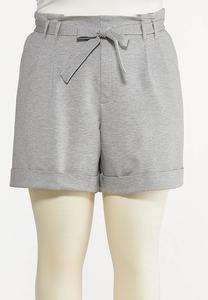 Plus Size Ponte Cuff Shorts