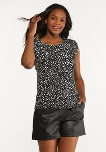 Plus Size Dotted Shoulder Pad Tank