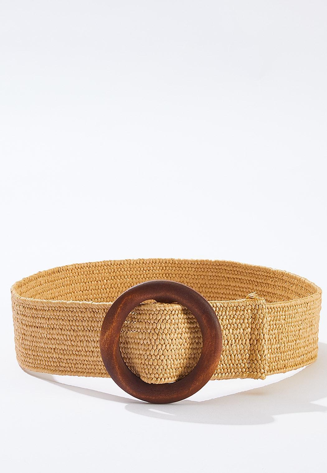 Plus Size Wood Buckle Stretch Belt