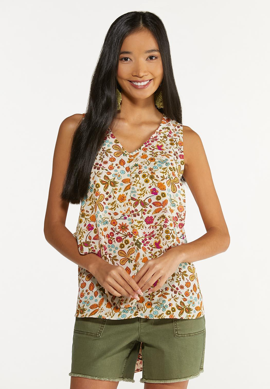 Plus Size Whimsical Floral Tank