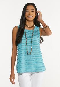 Plus Size Solid Frayed Tank
