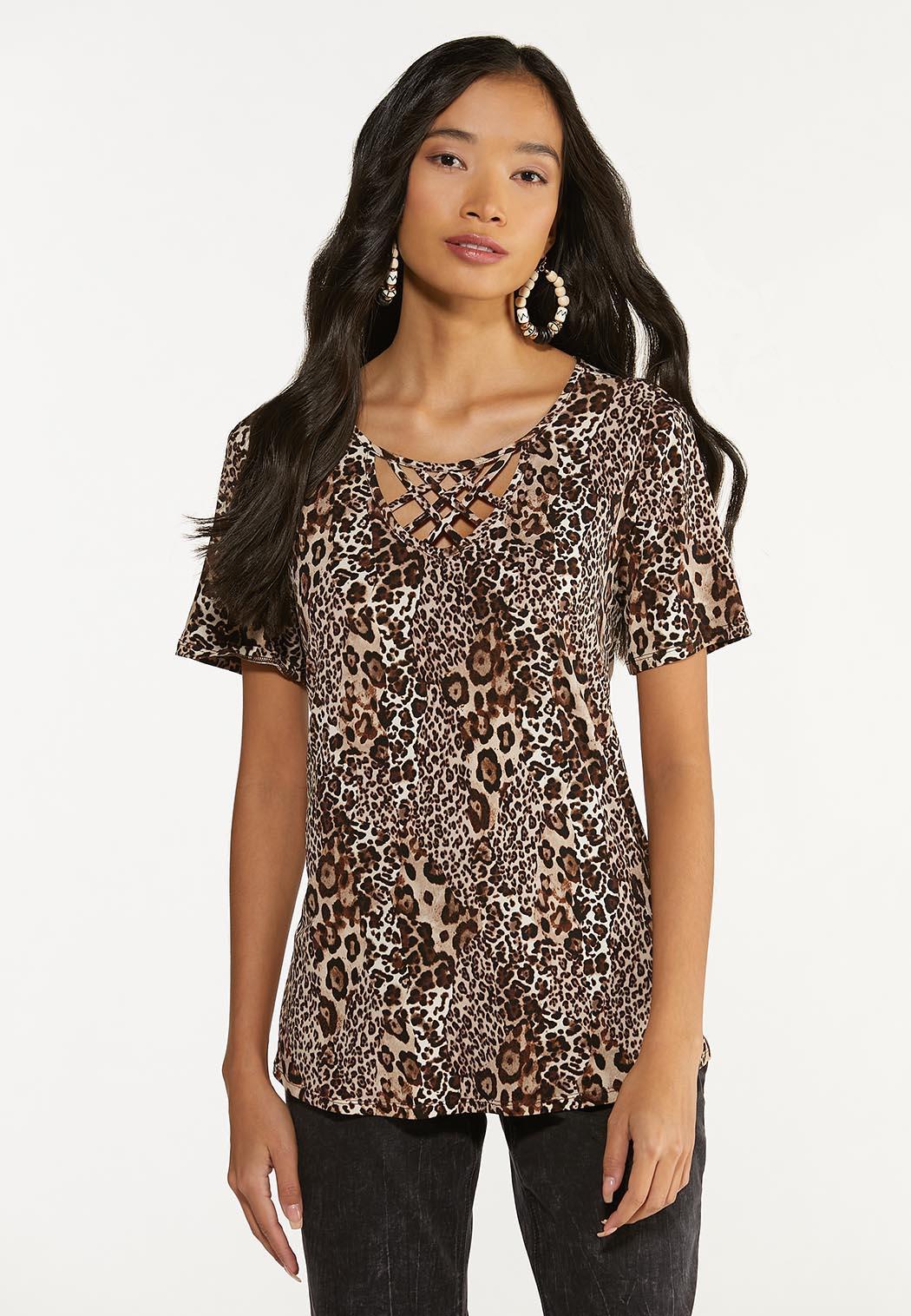 Plus Size Leopard Lattice Neck Tunic