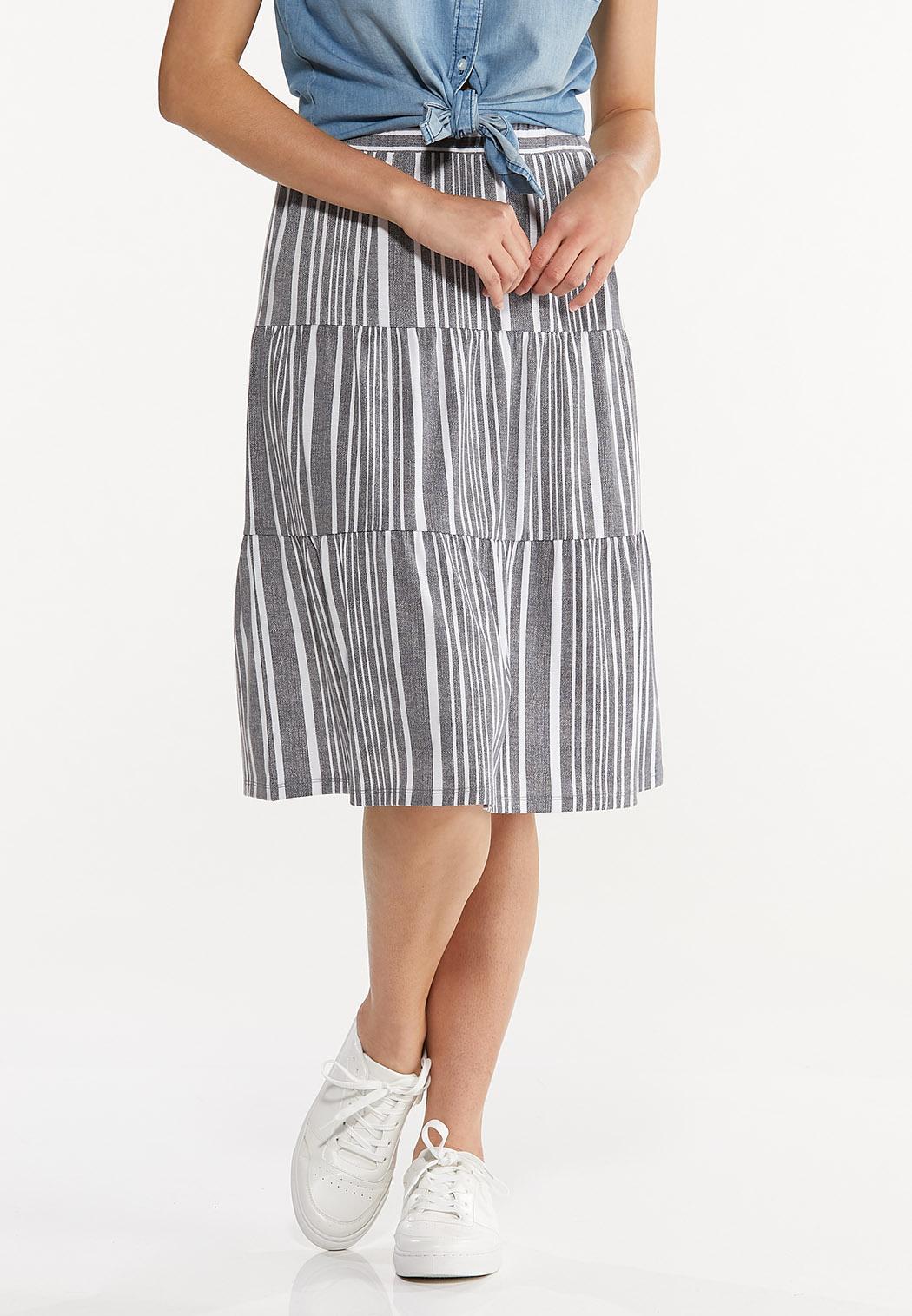 Plus Size Blue Striped Skirt