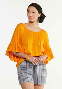 Smocked Neck Poet Top
