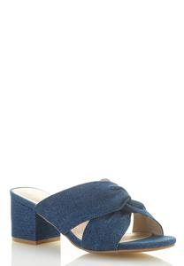 Denim Heeled Slides