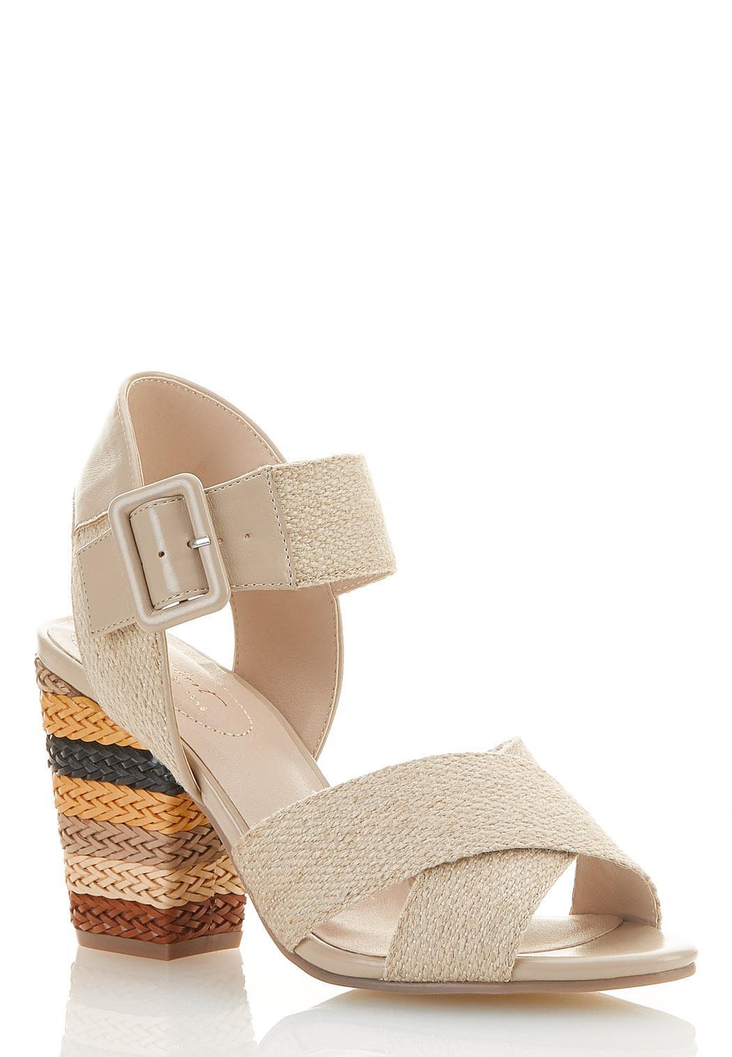 Wide Width Natural Band Heeled Sandals