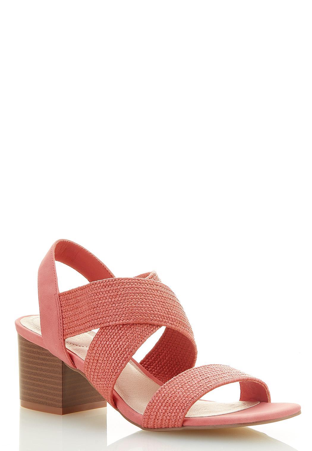 Wide Width Raffia Strap Heeled Sandals