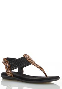 Wide Width Embellished Stretch Band Sandals