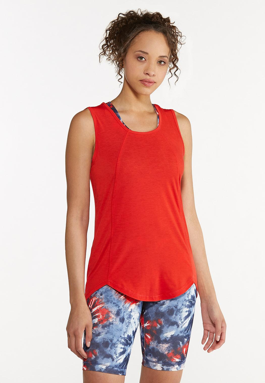 Plus Size Red Seamed Tank