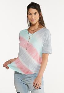 Plus Size Pastel Tie Dye Top
