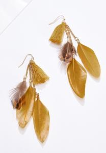 Metal Feather Statement Earrings